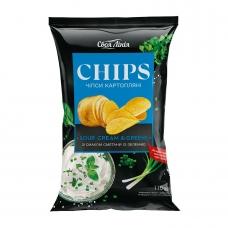 Чіпси 110г Своя лінія картопляні зі смаком сметани із зеленню